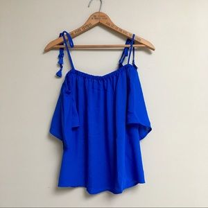 J.Crew Factory royal blue tie cold-shoulder top